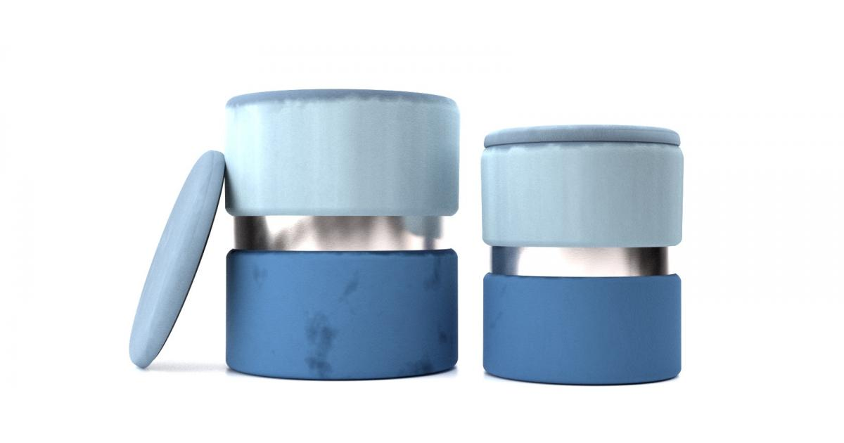 Пуф набор Derby T125/2 LightBlue/Blue