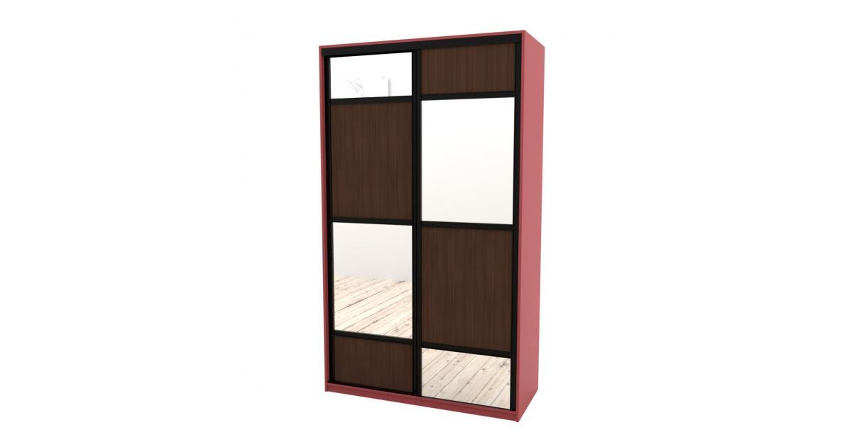 Шкаф-купе Arino 2х дверный с разделенными зеркальными фасадами и вставкой в шахматном порядке