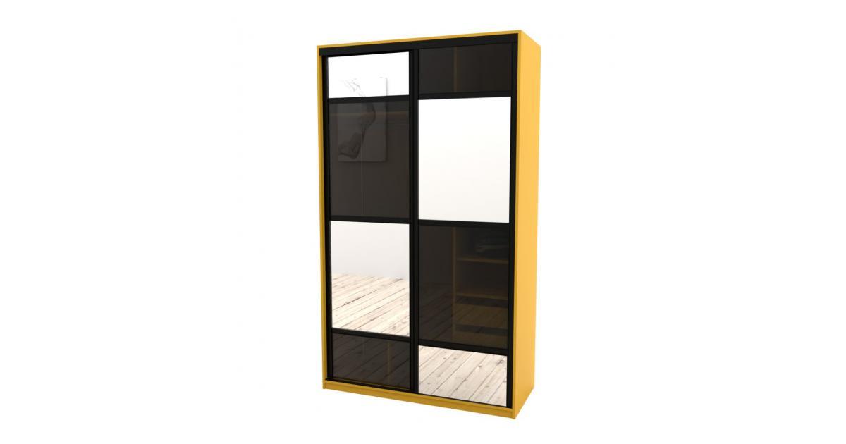 Шкаф-купе Arino 2х дверный с разделенными зеркальными фасадами и стеклянной вставкой в шахматном порядке