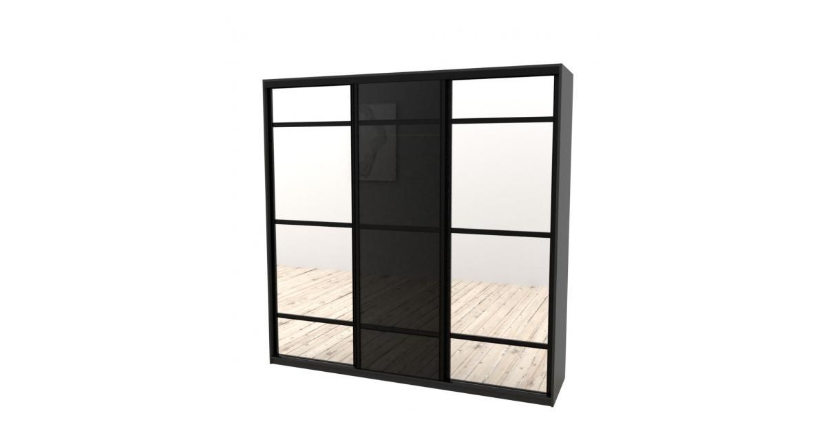 Шкаф-купе Arino 3х дверный с 2мя разделенными зеркальными фасадами и разделенным стеклом