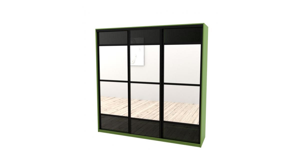 Шкаф-купе Arino 3х дверный с разделенными зеркальными фасадами и вставкой из стекла