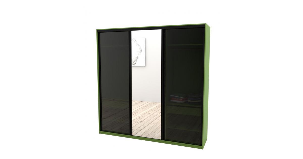 Шкаф-купе Arino 3х дверный с 2мя цельными стеклянными фасадами и зеркалом