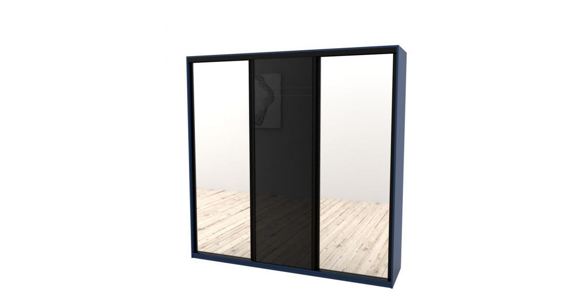 Шкаф-купе Arino 3х дверный с 2мя цельными зеркальными фасадами и стеклом