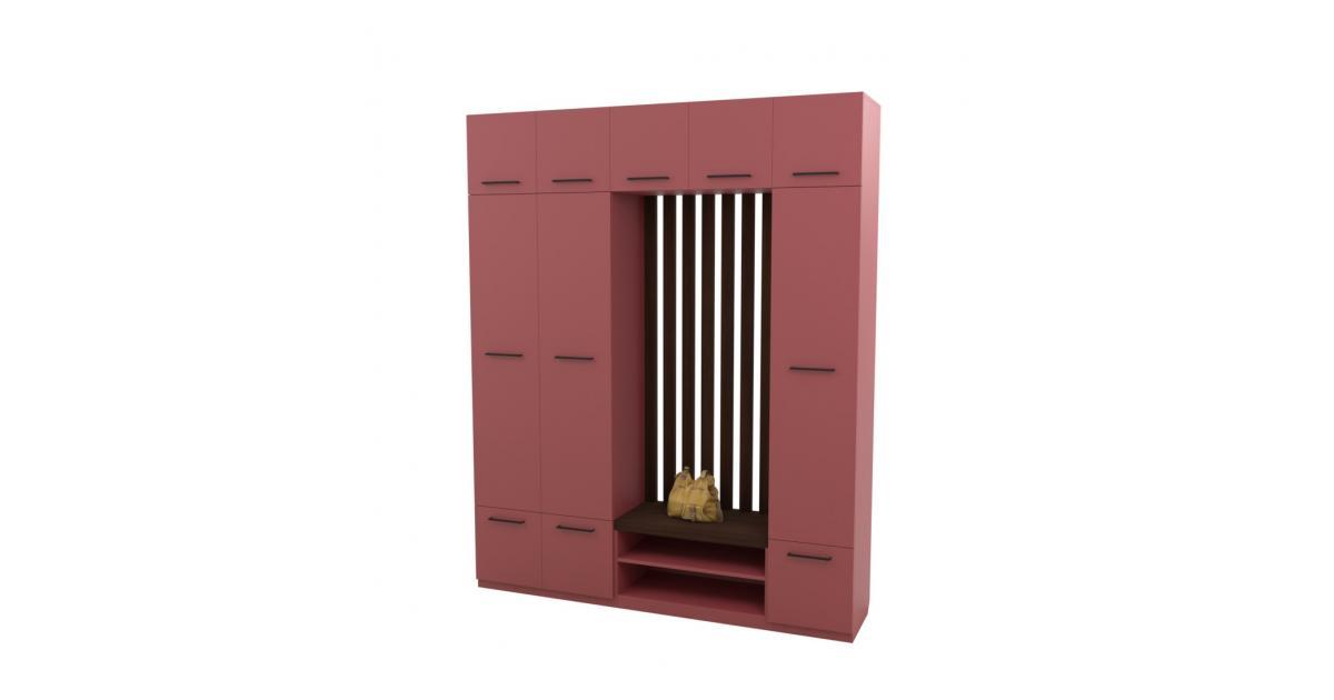 Прихожая Arino c модулем шкафа пуфом рейками и шкафом