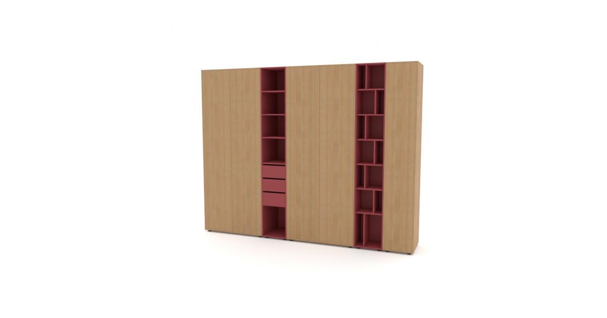 Шкаф Merini 4 модуля с цельными фасадами, модулем полочек и ящиков и модулем разноуровневых полочек
